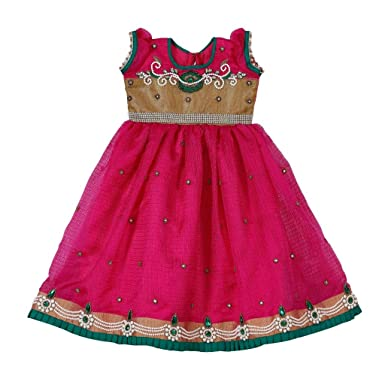 fb7b1ee9f4cc LAVIS Latest Designer Baby frocks party wear /Girls Green and Pink beaded  Yoke with layers