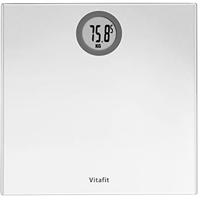 Vitafit Báscula de Baño Digital de Alta Medición Precisa 180kg/400lbs con Tecnología Step-On,Pantalla LCD, Elegante Plata