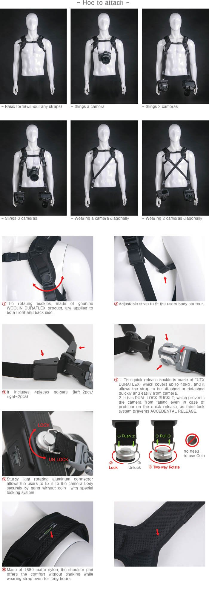 Matin Neoprene Utility Fast Access Sling Shoulder Strap Camera Dynamic Shooting Photographers