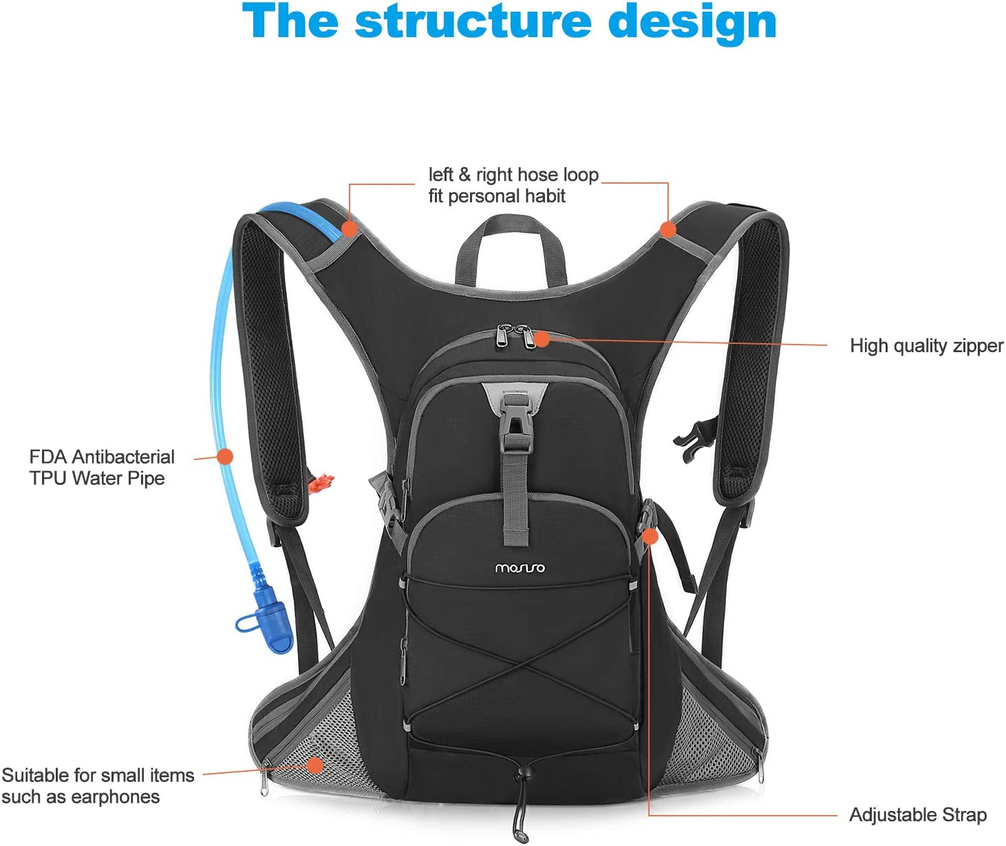 Light-Weight Compact Daypack Backpack Rucksack with 2 Liter Water Hydration Bladder for Sports Outdoor//Biking//Hiking//Mountain//Running//Climbing//Cycling MOSISO Hydration Pack Backpack Black