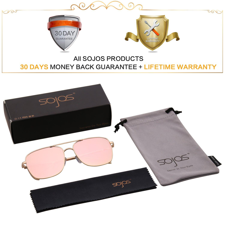 d55961e819 SOJOS Square Double Bridge Metal Frame Sunglasses for Men and Women SJ1088  SJ1089 in Gold Frame Pink Mirrored Lens  Amazon.co.uk  Clothing