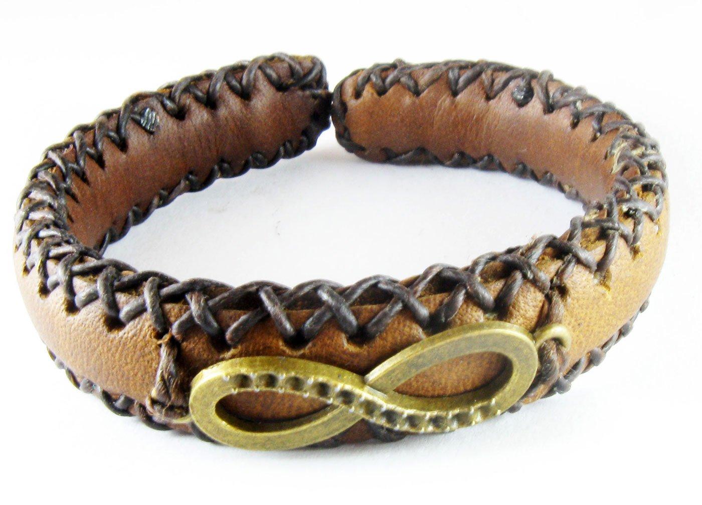 D'SHARK Handmade Infinity Design Biker Leather Bangle Bracelet Cuff Wristband for Unisex (Brown)
