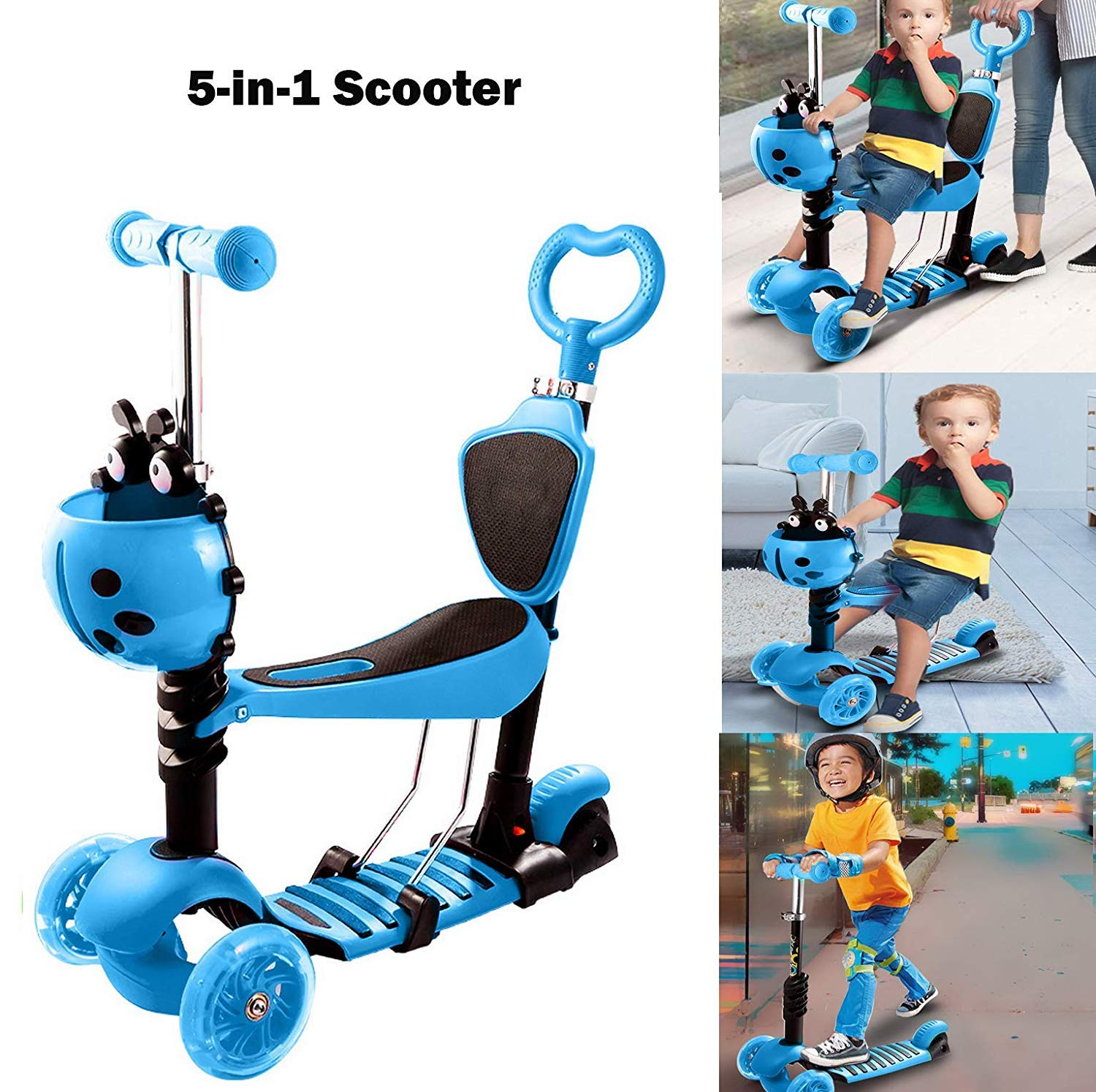 5-in-1 Scooter for Toddlers Kids with Seat - Adjustable Detachable Portable  3 Wheel Kick Scooter with LED Light up Wheels   Gift for Baby Boys Girls 1 to 6 Yeard Old [US STOCK] ([5-in-1] Blue)