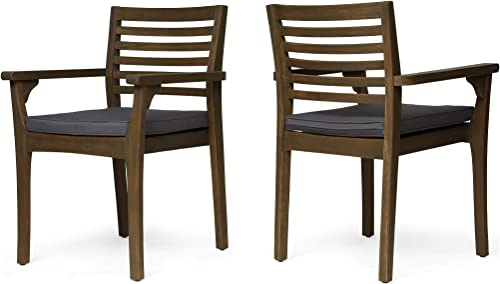 Great Deal Furniture Esther Patio Dining Chairs, Acacia Wood and Outdoor Cushions, Gray and Dark Gray Set of 2