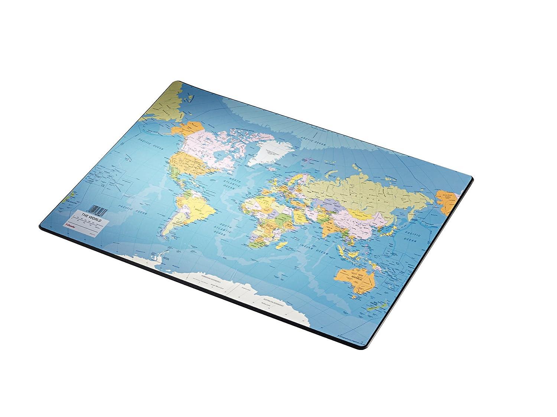 Esselte - Rivestimento da piano scrivania, motivo: mappa del mondo 32184