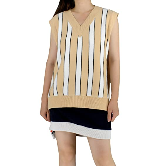 174dc7fe3 YSJ Women s Deep V-Neck Sweater Vest Striped Pullover Loose A-Line ...
