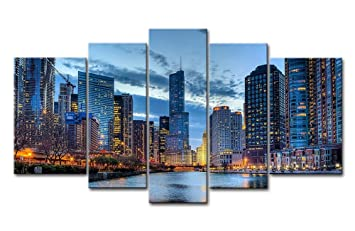 Charmant 5 Panel Wall Art Painting Chicago Illinois Usa Pictures Prints On Canvas  City The Picture Decor