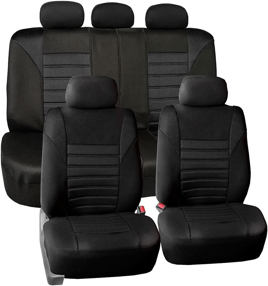 FH Group FB068115 Premium 3D Air Mesh Seat Covers Full Set (Airbag & Split Ready) Solid Black Color- Fit Most Car, Truck, SUV, or Van