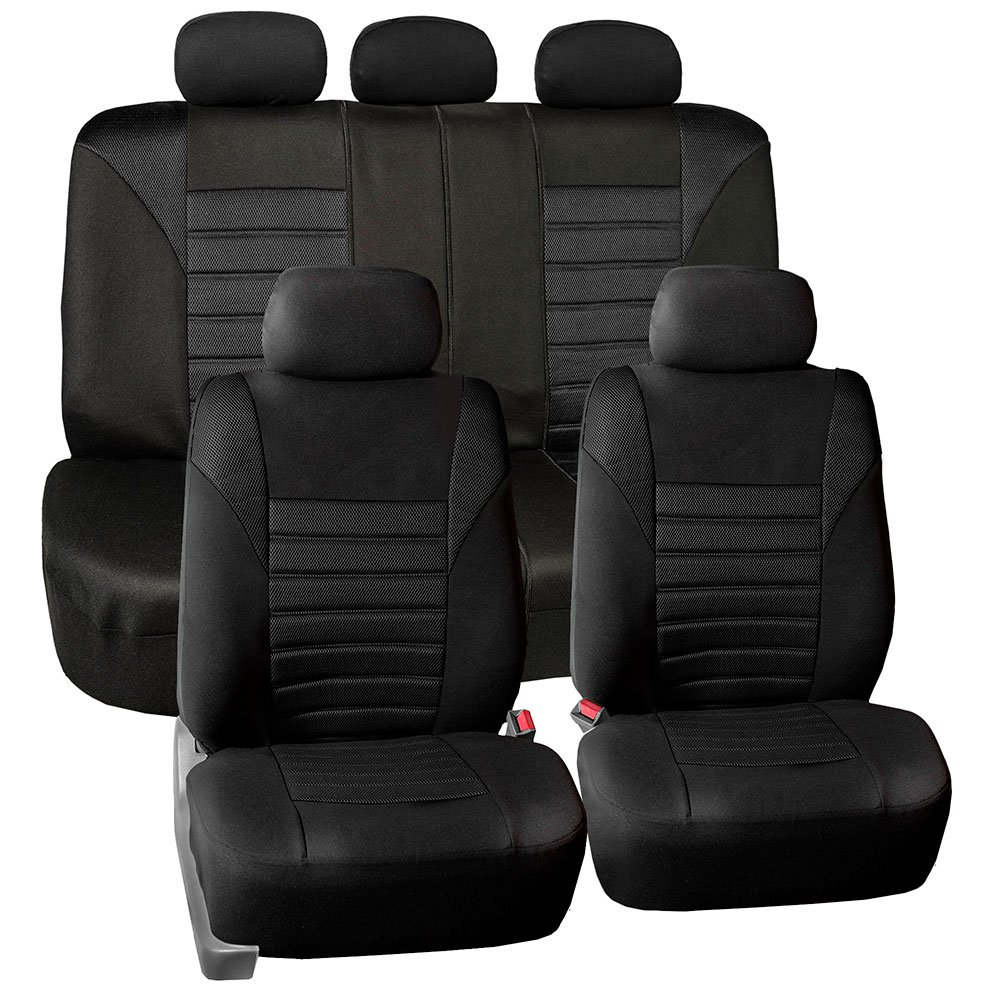 FH Group FH-FB068115 Premium 3D Air Mesh Seat Covers Full Set (Airbag & Split Ready) Solid Black Color- Fit Most Car, Truck, Suv, or Van