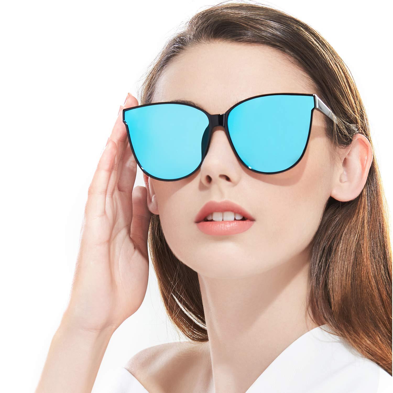 Polarizzati Occhiali da Sole da Donna Occhio di Gatto Moda Grandi Cornice 100% UV Protezione