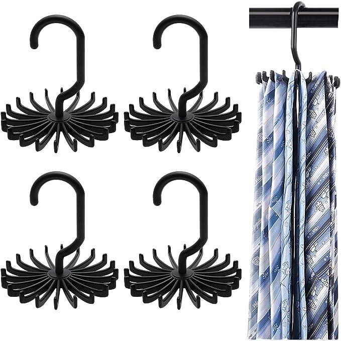 Blue uyhghjhb Closet Storage Rack Tie Belt Scarf Organizer Space Saver Rotating Hanger Holder