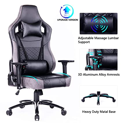Blue Whale Gaming Chair Large Size Racing PC Computer Gaming Chair Video Game Chair with Massager Lumbar Support and Retractible Footrest High Back PU ...