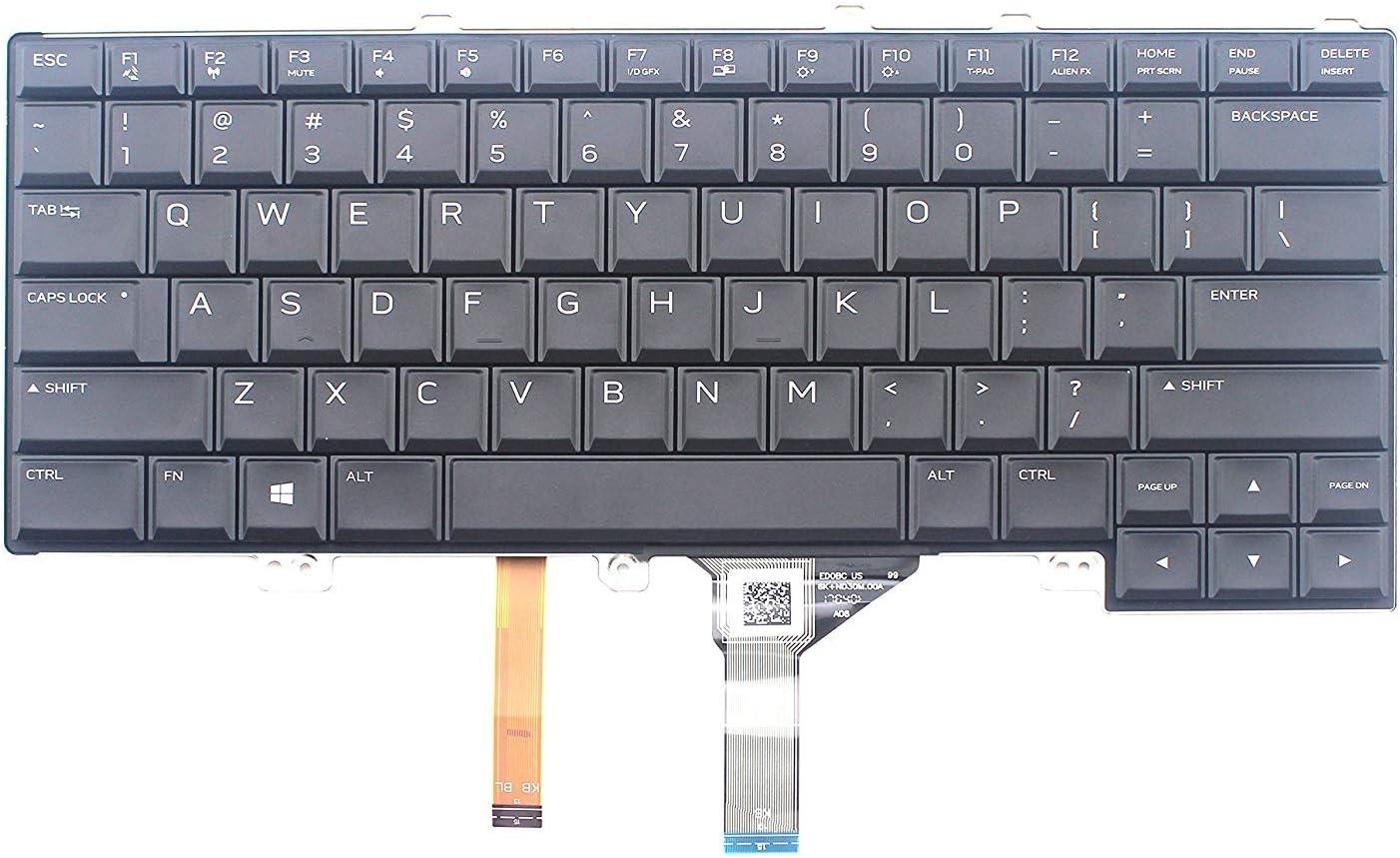 4K8F6 Dell Alienware 13 15 R2 ENGLISH International NSK-LB1BC 1D Keyboard