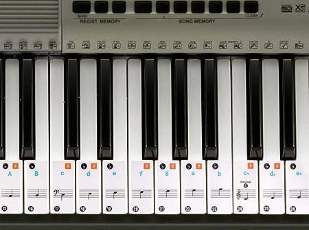 Piano adhesivo para 49 / 61/ 76 / 88 llave teclados – transparente y extraíble
