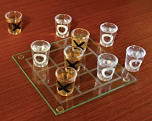 Shot Glass Tic Tac Toe – Portable Three In A Row Drinking Game Mini Shot Glass With Glass Board Novelty Funny Adult Gift