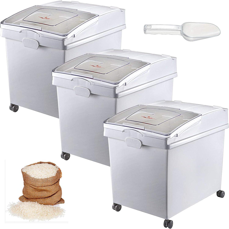 VEVOR Ingredient Bin, 10.5 Gallons Capacity Ingredient Storage Bin, PP Material Flour Bins On Wheels, White Shelf Ingredient Bin with Scoop and Sliding Lid, Commercial Storage Bins, 3 Pcs/Set