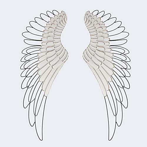 Luxen Home 2pc Wood and Metal Angel Wings Wall Decor