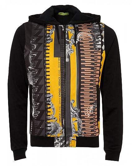2e02461d96 Versace Jeans Mens Baroque Print Zip up Slim Fit Hoodie: Amazon.co ...