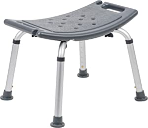 Flash Furniture HERCULES Series Tool-Free and Quick Assembly, 300 Lb. Capacity, Adjustable Gray Bath & Shower Chair with Non-slip Feet