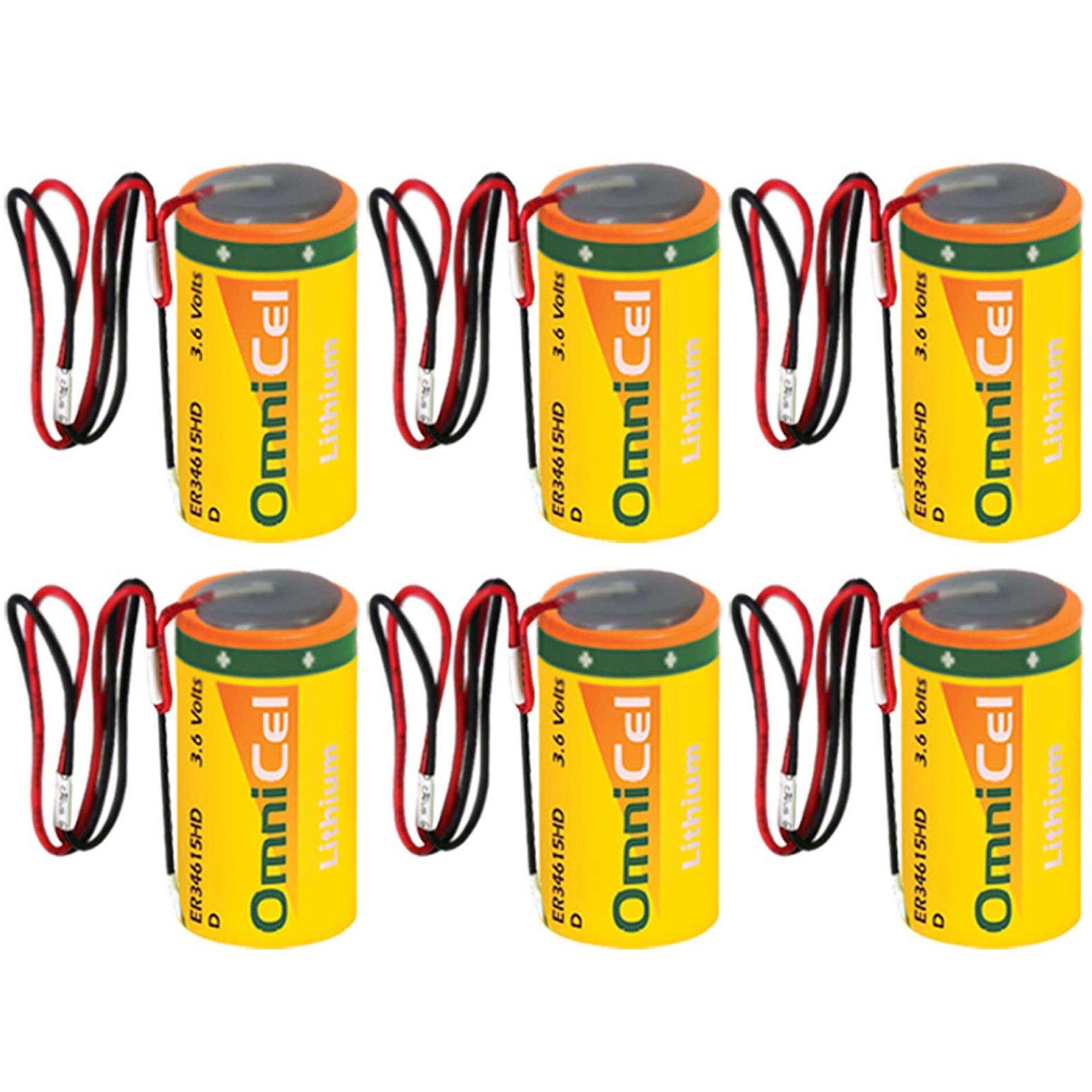 6x OmniCel ER34615HD/W High Drain Lithium Thionyl Chloride Battery