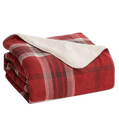 Bedsure Manta para Sofas de Sherpa 150x200 cm - Manta para Cama Reversible de 100% Microfibre Extra Suave - Estamapada a Cuadres Negro/Rojo
