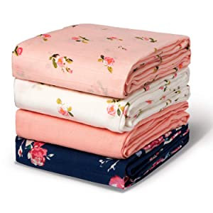 Momcozy Muslin Swaddle Blanket Baby Girl Newborn, 4 Pack Large Wrap Swaddle Blankets Soft Silky Breathable (70% Bamboo + 30% Cotton), Receiving Blanket, Floral Design