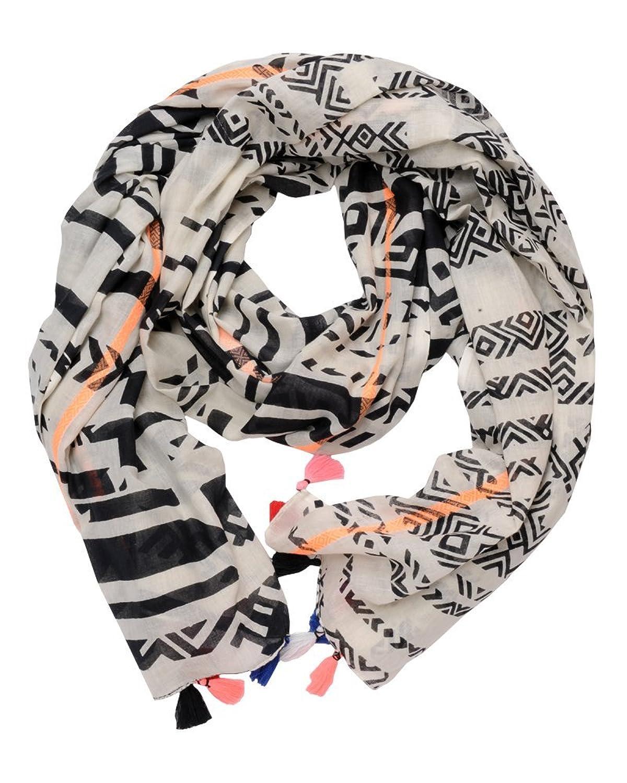 ImiLoa Tuch aus Baumwolle mit Printmuster und Quasten, Aztek Hippie Tuch, Bohemian Tuch, Sommer Tuch, leichtes Tuch, Strand tuch, leichter Schal