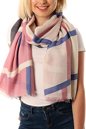 44a5db78a STYLE SLICE Check Scarfs for Women - Mustard Yellow Orange Pink Blue White  - Viscose Striped Scarf - Ladies Scarves Wraps Shawls Shrugs - Fashion ...