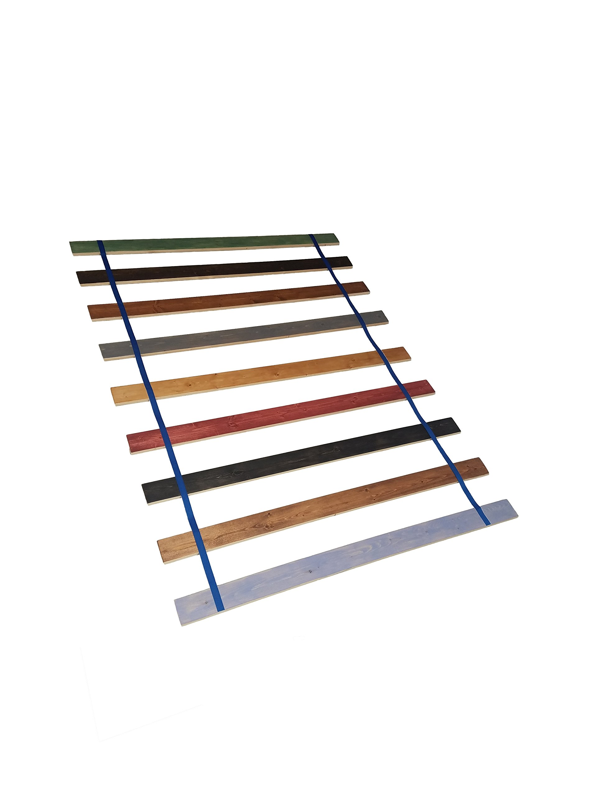 Custom Made in the U.S.A.! Full Size Stained Wood Bed Slats with Blue Strapping - Cut to the Width of Your Choice by The Furniture Cove
