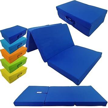 Colchón plegable para niños de proheim 120 x 60 x 6 cm - colchón de viaje para niños transportable , Color:Azul oscuro: Amazon.es: Hogar