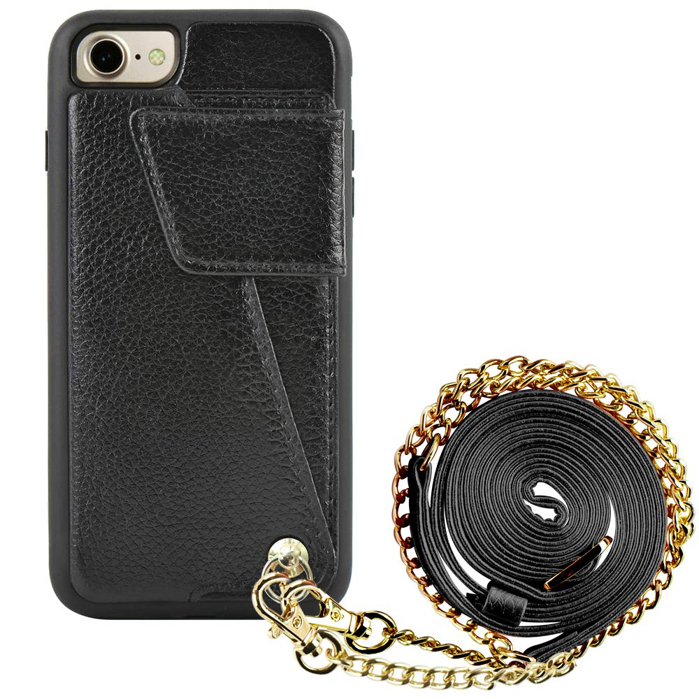 iPhone 7 Wallet Case with Crossbody Strap, ZVEdeng iPhone 8 Card Holder Cases with Chain, Protective iPhone Leather Case with Wallet for iPhone 7/8 - Black