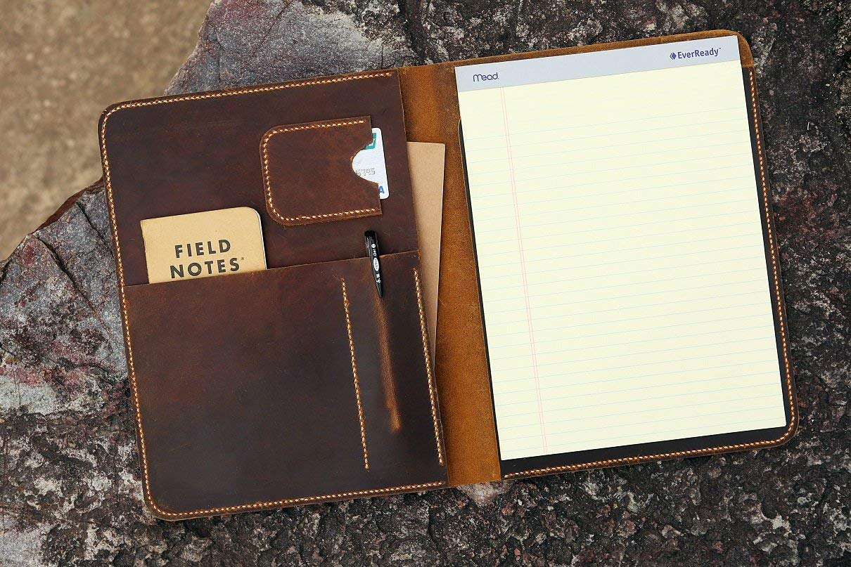 Distressed Leather large legal pad A4 document portfolio writing case/vintage refillable leather organizer notebook cover case - NA4005S