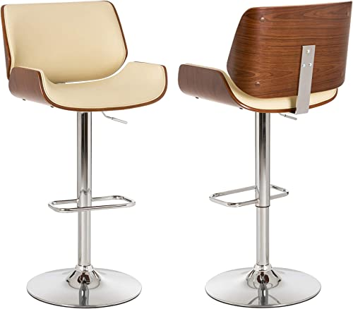 Glitzhome Adjustable Bar Stool Set of 2 Swivel Mid-Century Modern PU Leather Counter Dining Chairs