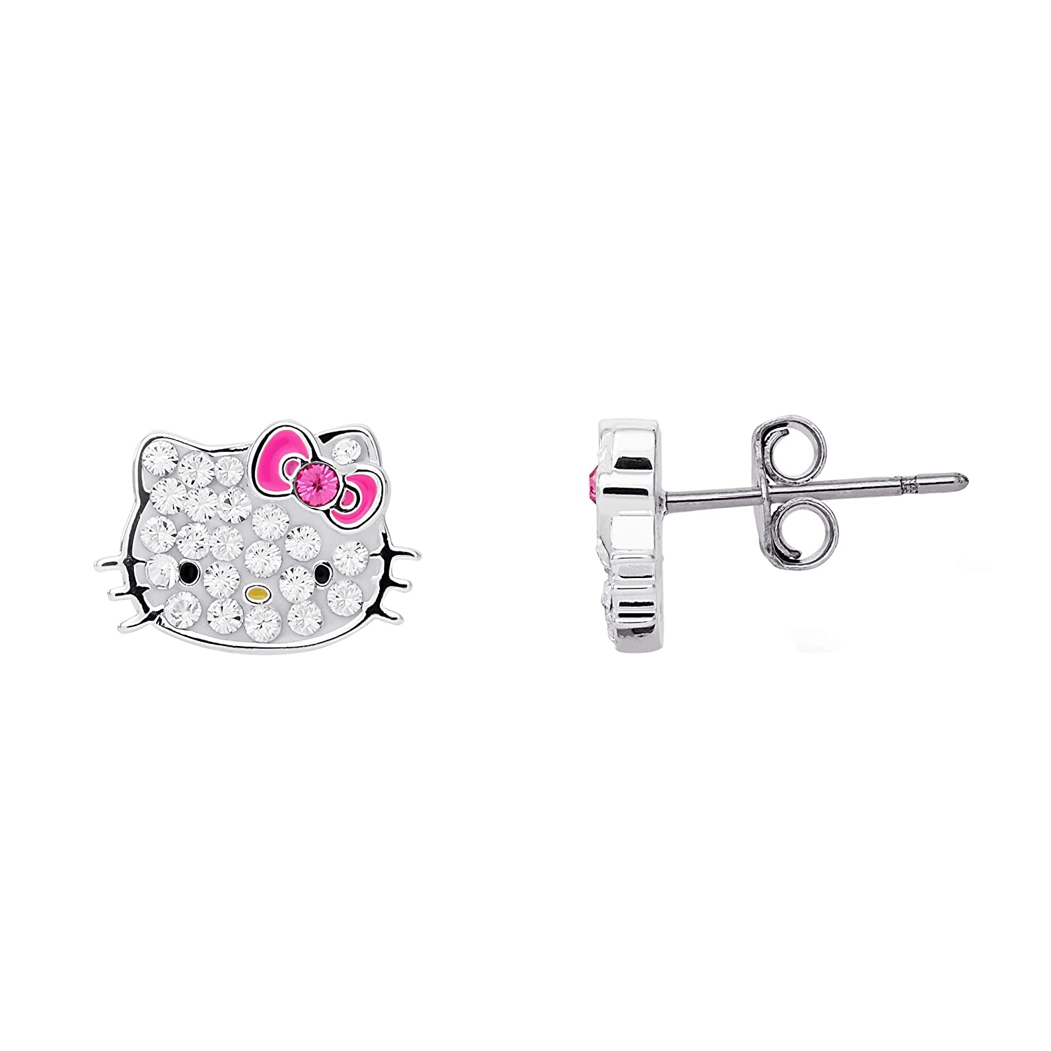 Hello Kitty Silver Plated Crystal Stud Earrings