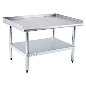Stainless Steel Equipment Stand 28x36 Inches with Undershelf, NSF Commercial Prep & Work Table with Rear and Side Risers, Heavy Duty Grill for Kitchen, Bar, Restaurant, Home and Hotel