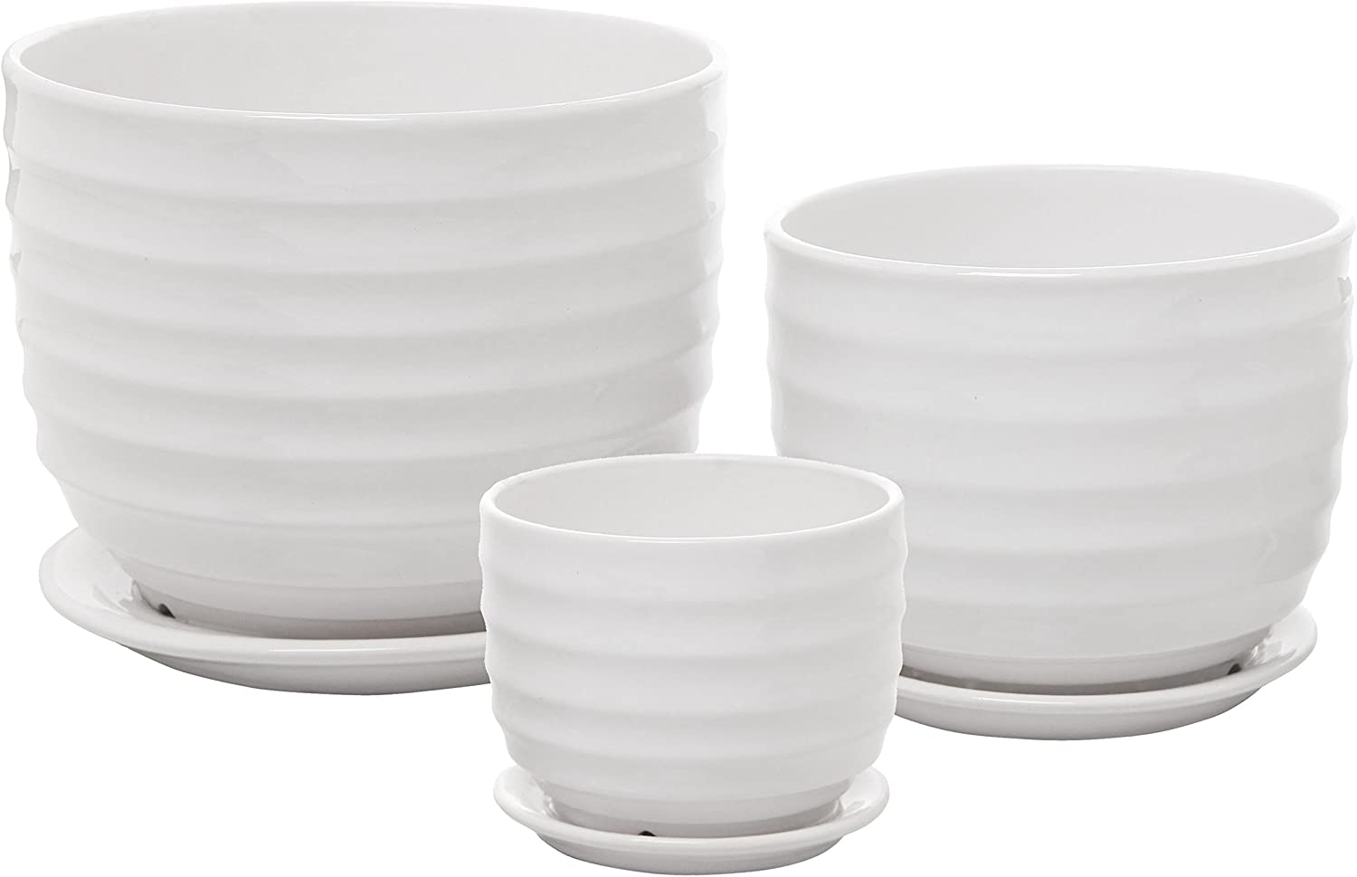 Set of 3 Small to Medium Sized Round Modern Ceramic Garden Flower Pots, White