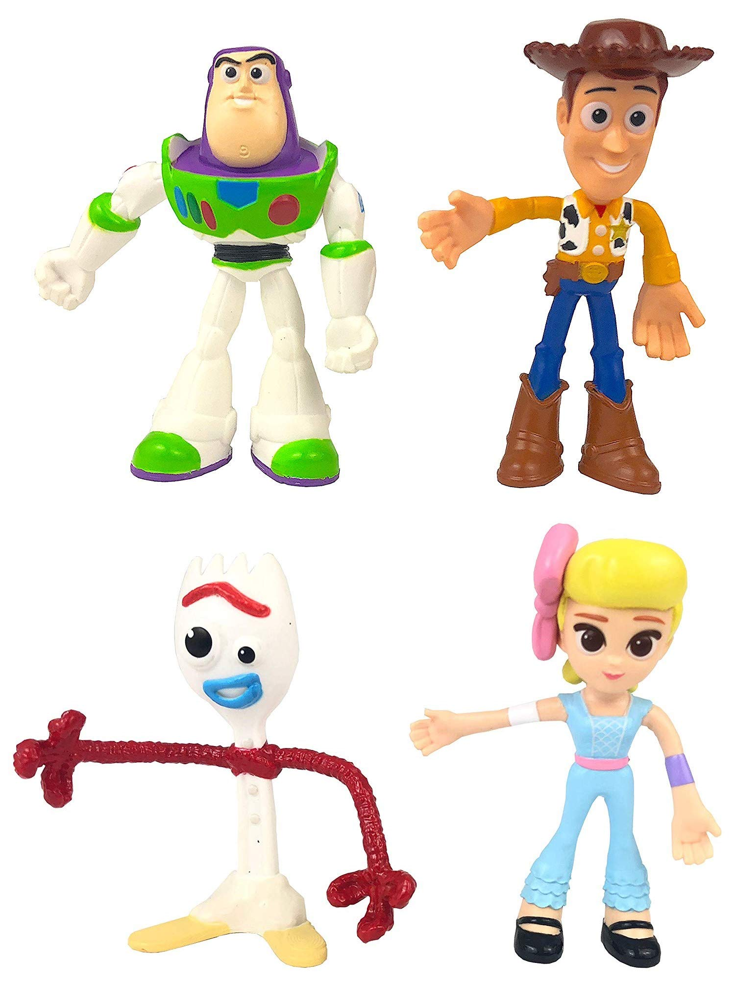 Dinsey Toy Story 4 Flextreme Bendable Figure Set Woody Buzz Forky Bo Peep