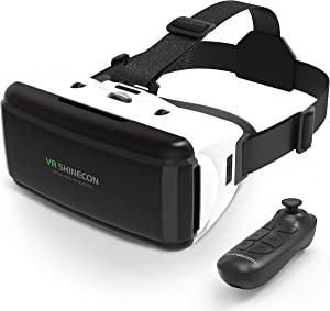 Sunsupfan VR Headset with Remote Controls for iPhone&Android, Lightweight Design, Eye Protection, Anti-Blue Light, HD Virtual Reality, 110°FOV & Comfortable Adjustable Distance for Phones 4.7-6.53