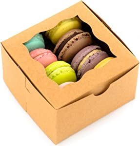 BakeLuv Brown Bakery Boxes with Window 4x4x2.5 inches   50 Pack   Thick & Sturdy   Bakery Boxes, Mini Cake Boxes, Cookie Boxes, Dessert, Pastry, Small Treat Boxes   Macarons NOT Included