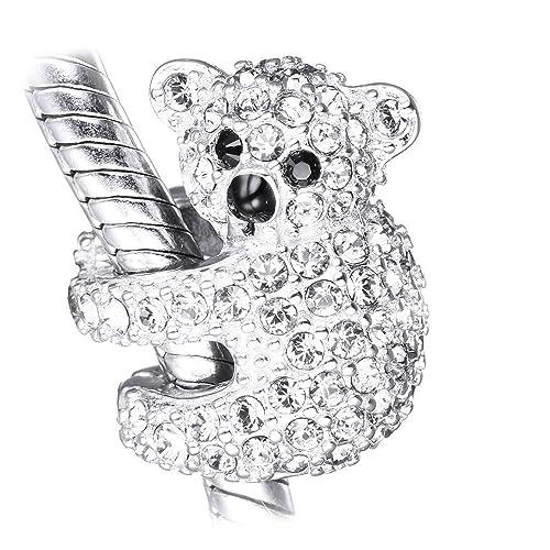 l'ultimo afc1c ff170 LSDesigns Ciondolo per bracciale a forma di koala, in argento 925 ricoperto  di cristalli austriaci, compatibile con bracciali Pandora, Biagi & ...