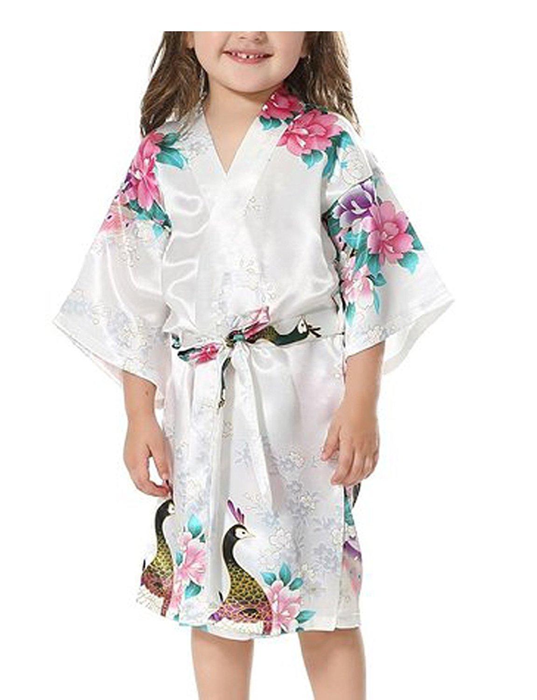 Yidarton Girls Peacock Satin Kimono Robe Fashion Bathrobe Nightgown White 14