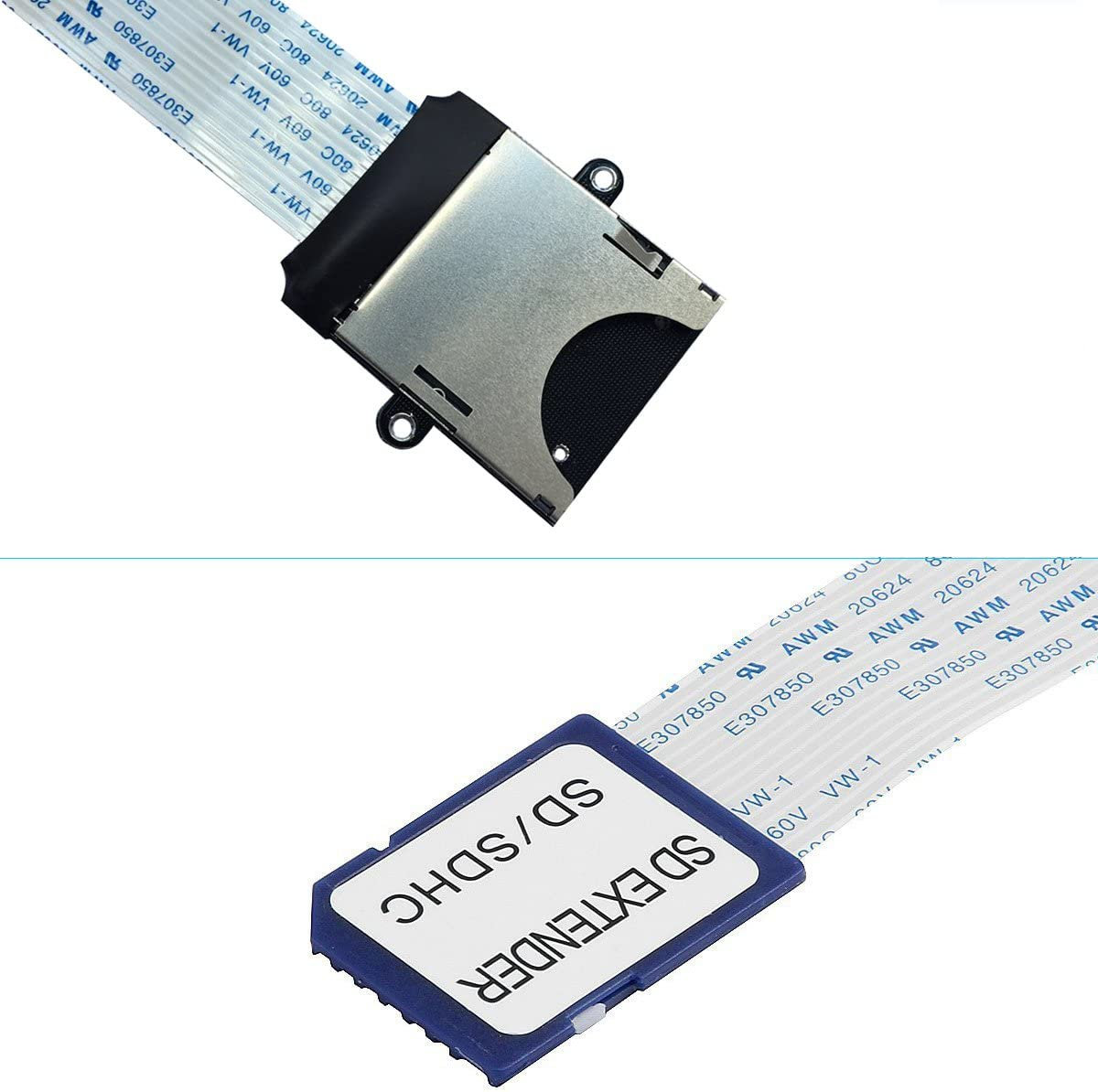 SD Extension SD Card Extension Cable Extender Adapter Flexible Memory Card to TF SD//RS-MMC//SDHC//MMC for Monoprice Select Mini 3D Printer//Anet A8 3D Printer//Raspberry Pi//GPS//TV SD Micro White