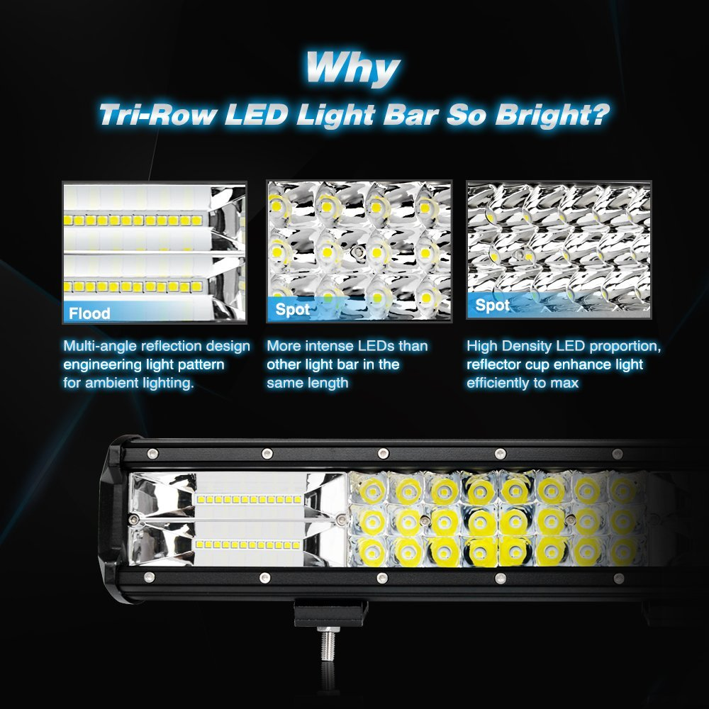 Nilight NI18A-12 Inch 12Inch LED Light Bar 2PCS 12 Inch Triple Row Flood Spot Combo Beam Driving Lamp for Off Road