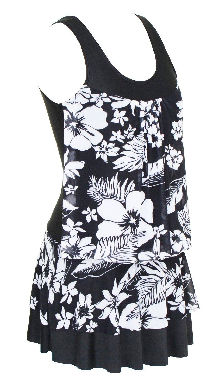 DANIFY SWIMWEAR レディース B078DZZ7WS 3XL(US size:18W)|ブラック花柄
