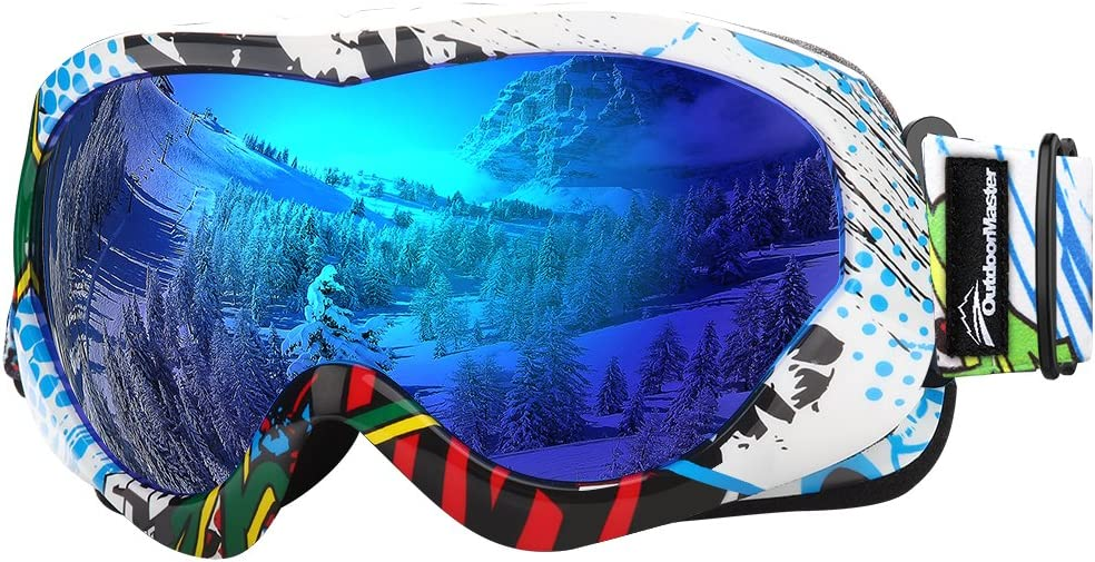 OutdoorMaster Kids Ski Goggles - Helmet Compatible Snow Goggles for Boys & Girls with 100% UV Protection