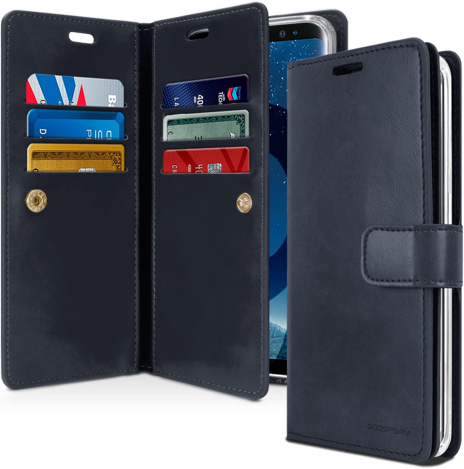 Goospery Mansoor Wallet for Samsung Galaxy S9 Plus Case (2018) Double Sided Card Holder Flip Cover (Navy) S9P-Man-NVY