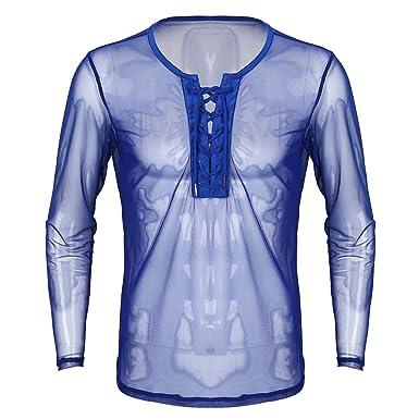 dPois Herren Langarm Shirt Transparent Mesh T-Shirt Unterhemd Tops Männer  Netzshirt Langarmshirt Slim Fit Hemd Clubwear in Weiß, Schwarz, Blau  Amazon .de  ... 928f8a0fa3