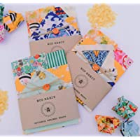 Set OF 4 100% Natural Beeswax Food Wraps, Biodegradable, Handmade in sunny Romney Marsh UK, Randomly selected colours
