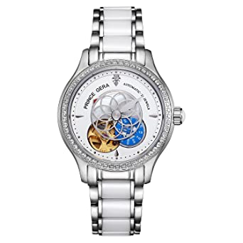 920098719e 腕時計 レディース PRINCE GERA 高級 機械式 自動巻き 防水 花 ダイヤ 女性 ウォッチ (シルバー