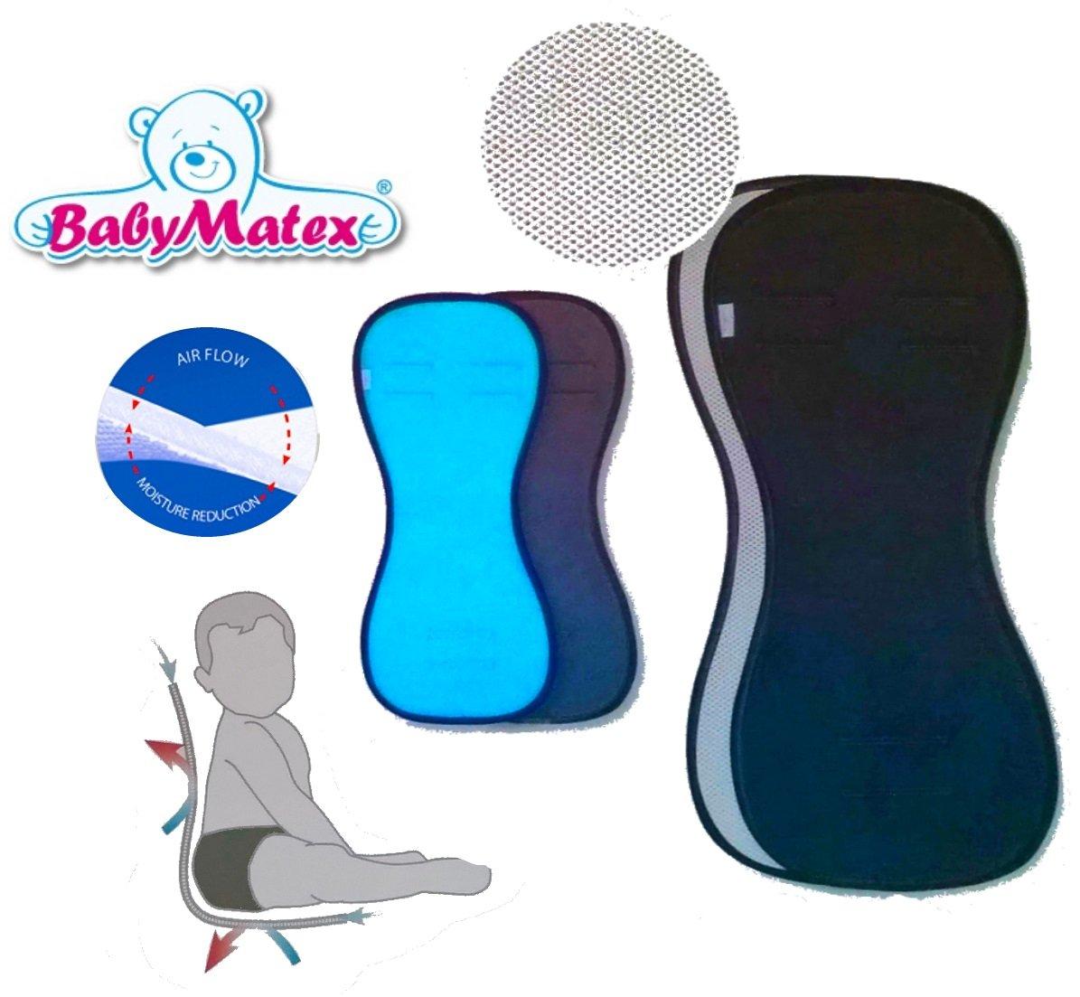 BabyMatex ** PADDIX SCHWARZ ** Atmungsaktive, antiallergische Sitzauflage / Sitzeinlage -- AERO MESH 3D System-- Universal für Babyschale, Autokindersitz, z.B. für Maxi-Cosi, Römer, für Kinderwagen, Buggy, Hochstuhl etc. z.B. für Maxi-Cosi Römer für Kinder